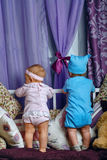 Scuola materna della sorella e del fratello Fotografie Stock