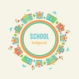 Scuola materna e fondo di istruzione scolastica Segno rotondo fatto degli edifici scolastici Immagini Stock