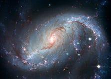 Scuola materna stellare NGC 1672 Galassia a spirale nella costellazione Dorado immagine stock libera da diritti