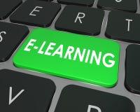 Scuola online di istruzione di chiave di tastiera del computer di e-learning Immagini Stock Libere da Diritti