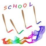 Scuola, pittura, pittore, arcobaleno, colore, tavolozza Immagini Stock Libere da Diritti
