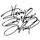 Scuola praticante il surfing delle Hawai Iscrizione moderna della mano di calligrafia per la stampa di serigrafia Immagine Stock