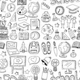 Scuola senza cuciture e istruzione del modello di vettore di scarabocchio illustrazione di stock