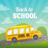 Scuolabus e testo gialli Fotografia Stock Libera da Diritti