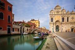 Scuole威尼斯Grandi。威尼斯。意大利。 库存照片
