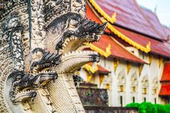 Scuplture of ancient Wat Chedi Luang temple in Chiang Mai - Thailand. View on scuplture of ancient Wat Chedi Luang temple in Chiang Mai - Thailand Stock Photo