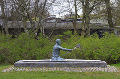Scuplture of canoeist in park of Malmo, Sweden Stock Photography