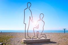 Scuplture dedicated to love on beach along the Black Sea in Batumi, Adjara, Georgia. Scuplture of man and woman in love on the beach along the Black Sea in Stock Photography
