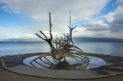 Scuplture Sun Voyager (Solfar). Reykjavik, Iceland - september 2, 2014: Scuplture Sun Voyager (Solfar) in Reykjavik. One of the famous city sigths, Iceland Royalty Free Stock Photography