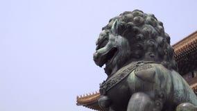 Scupture impressionante del leone vicino alla Città proibita stock footage