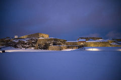 Scuro ed il freddo a fredriksten la fortezza (entrata principale) Immagine Stock Libera da Diritti