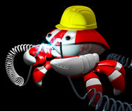 Scutter Crab Robot Repairing Power Cable Dark Area Stock Image