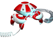 Scutter Crab Robot Repairing Power Cable on White Royalty Free Stock Photography