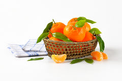 Scuttle of ripe tangerines. And checkered dishtowel on white background Stock Image