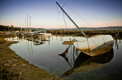 Scuttled sailing boat Royalty Free Stock Photos