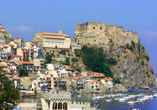 Scylla castle and church. Teleshot of Scylla castle and church in Calabria royalty free stock photos