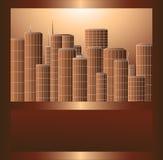 Scyscrapers in brown metal frame Stock Images