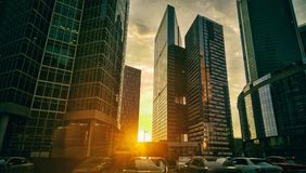 Scyscrapers. High skyscrapes at evening sunlight background Royalty Free Stock Photo