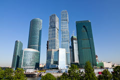 Scyscrapers of Moscow city under blue sky Stock Images