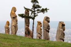 Scythian kurgan anthropomorphic stenskulpturer fotografering för bildbyråer