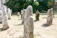 Scythian skulpterar den Anthropomorphic stenen i Berdyansk, Ukraina arkivbild