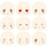 SD动画片面孔情感 库存照片