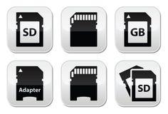 SD,存储卡,被设置的适配器按钮 库存例证