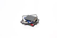 SD и компактные карточки флэш-память изолированные на белизне Стоковые Изображения RF