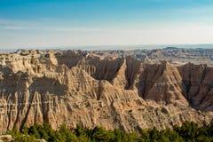在峡谷的美丽的景色,恶地国家公园,SD,美国 免版税库存照片