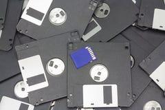 Карточка и гибкий магнитный диск SD Стоковое Фото