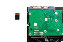 在硬盘驱动器硬盘驱动器旁边的微SD (安全数字式)卡片 库存照片