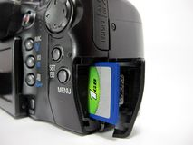SD card in camera. Close up shot of SD card in a digital camera Royalty Free Stock Photography