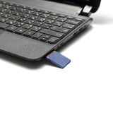Sd card insert in laptop Stock Photos