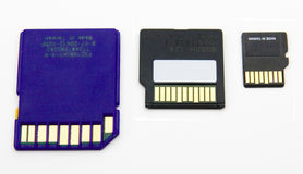 SD Flash Memory Cards. Micro, Mini and Full SD compact flash cards on white for comparison Stock Photos