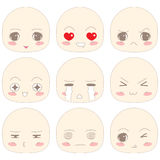 SD Cartoon Face Emotion. SD (Chibi) cartoon in emotion Vector Illustration
