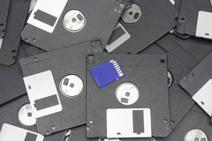 Sd-kort och diskett Arkivfoto
