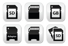 SD, memory card, adapter buttons set Royalty Free Stock Image