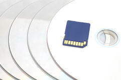 Sd memory card on disc. S background Stock Image