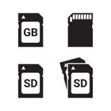 SD memory card, icons set Stock Photo