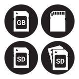 SD memory card, icons set Royalty Free Stock Photos