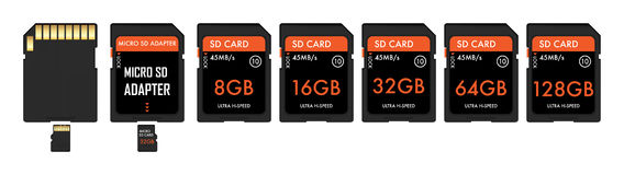 SD And Micro sd card with adapter Stock Images