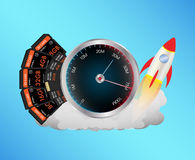 SD and Micro SD memory card with speed meter and toy rocket Stock Photo
