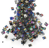 SD and microSD memory cards flow Stock Photo