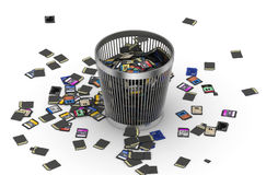 SD and microSD memory cards flow on trashcan Stock Images