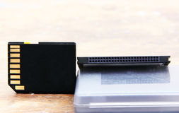 Sd-minne med den kompakta bildkortet Arkivbilder