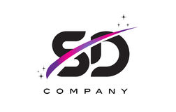 SD S D Black Letter Logo Design With Purple Magenta Swoosh Stock Photography