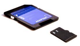 SD-Tarjeta micro con el adaptador Fotografía de archivo