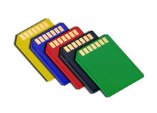 SD type memory cards. Different colors over white background Royalty Free Stock Image