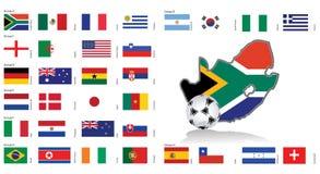 Südafrika-Karte und Markierungsfahnen/Vektor Stockfotos
