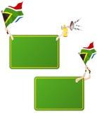Südafrika-Sport-Meldung-Feld mit Markierungsfahne. Lizenzfreie Stockbilder